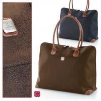 Пътна чанта еко кожа Siena 46см - синя, кафява