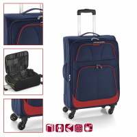 Голям син текстилен куфар с четири колела Etna