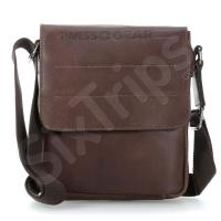 Тъмнокафява чанта от естествена кожа SwissGear