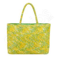 Лятна чанта за плаж в зелен и жълт цвят