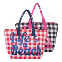 Стилна дамска плажна чанта каре
