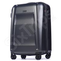 Сив стилен голям куфар с иновативен дизайн Puccini New York, 110л