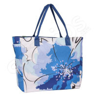 Синя дамска чанта, цветя