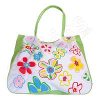 Чанта за плаж на цветя в зелено