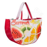 """Свежа плажна чанта в червено и бяло """"Плодове"""""""