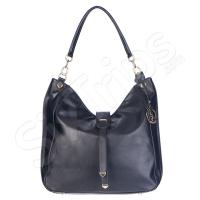 Елегантна черна дамска чанта с украшение Puccini