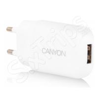 Бял адаптер с един USB порт Canyon 1A