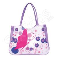 Лилава плажна чанта с флорални елементи