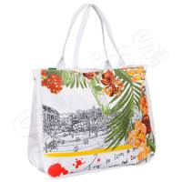 """Плажна чанта """"Пейзаж"""" HatYou в бяло и жълто"""