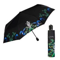 Изискан черен дамски автоматичен чадър лукс Maison Perletti
