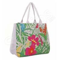 Чанта за плаж на цветя - зелено и розово