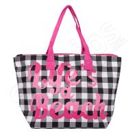 Стилна дамска плажна чанта каре в черно и розово HatYou