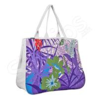 Плажна чанта лилаво и бяло