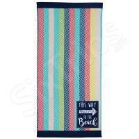 """Пъстра плажна кърпа на цветни райета Alfresco """"This Way To The Beach"""""""