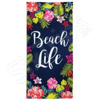 Синя лятна плажна кърпа Alfresco с флорални елементи и надпис
