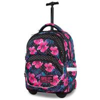 Раница на колела за училище в черно с розови цветя CoolPack Starr Blossoms за момиче