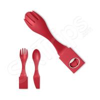 Червен портативен комплект прибори - вилица, лъжица и ножче