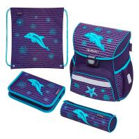Ученически комплект раница, несесери и торбичка за спорт Herlitz Loop Plus dolphin