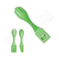 Зелен комплект за хранене - виличка, лъжичка и ножче за път