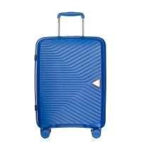 Твърд куфар за ръчен багаж в син цвят на четири колела Puccini Denver 55см