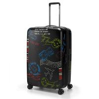 Куфар в черно с дизайн на печати от поликарбонат Reisenthel Suitcase L, голям размер