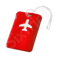 Свеж червен етикет за багаж, самолет