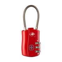 Червен здрав катинар със стоманено въже и шифър Wenger Cable Lock TSA