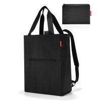 Сгъваема черна портативна чанта и раница Reisenthel Mini maxi 2-in-1