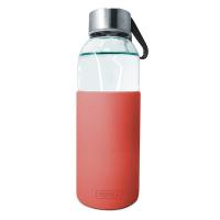 Стъклена бутилка със силиконов протектор 400мл, червена