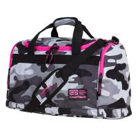 Спортен сак CoolPack Fit Camo Pink Neon, сив камуфлаж с розово