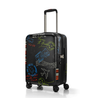 Черен малък куфар поликарбонат с дизайн на печати Reisenthel Boardcase
