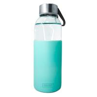 Стъклена бутилка със зелен силиконов протектор 400мл