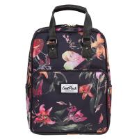 Черна раница и чанта за ежедневието или за пътуване CoolPack Cubic Lilies, на цветя