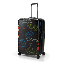 Черен куфар поликарбонат с дизайн на печати Reisenthel Suitcase M, среден размер