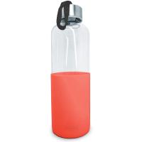 Стилна стъклена бутилка с червен силиконов протектор Vin Bouquet 600мл