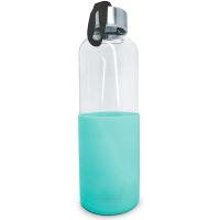 Стъклена бутилка със силиконов протектор Vin Bouquet 600мл, зелена