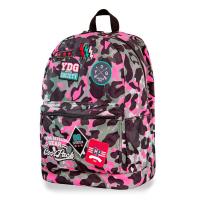 Дамска розова раница камуфлаж CoolPack Cross Camo Pink Badges