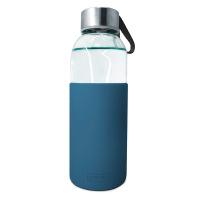 Стъклена бутилка със син силиконов протектор 400мл