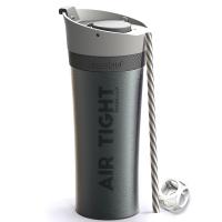 Удобна двустенна термо чаша Asobu Fresh N Go с вакуумна изолация и Аir Pump система 500мл, в черен цвят