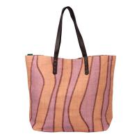 Плажна чанта в бежово и лилаво HatYou 50см