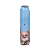 Светлосин неавтоматичен чадър с дизайн на кучета Perletti Time