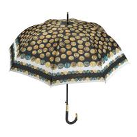 Луксозен черен дамски голф чадър Maison Perletti с дизайн на монети, бял кант