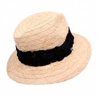 Дамска плетена сламена шапка за плаж или ежедневието HatYou, с черна лента