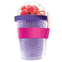 Охлаждаща двустенна чаша Asobu Chill Yo 2 Go с лъжичка, в лилав цвят