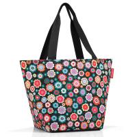 Практична дамска чанта за пазар в черен цвят на цветя Reisenthel Shopper М, happy flowers