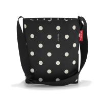 Практична черна дамска малка чанта на точки за през рамо Reisenthel Shoulderbag S, mixed dots
