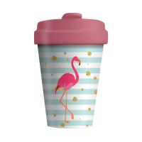 Розова дамска чаша за кафе фламинго Chic Mic, 400мл