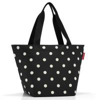 Практична дамска чанта за пазар в черен цвят на точки Reisenthel Shopper М, mixed dots