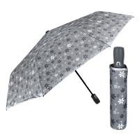 Дамски сив автоматичен чадър на цветя Perletti Technology