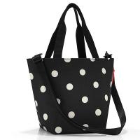 Удобна малка черна дамска чанта на точки Reisenthel Shopper XS, mixed dots
